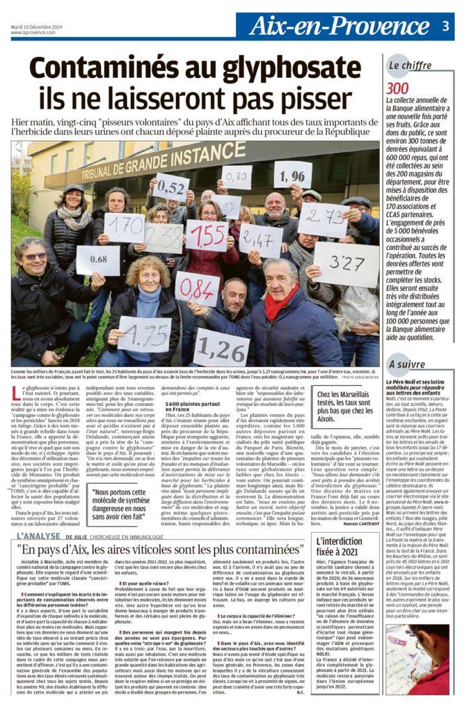 """Page 3 de La Provence """"Contaminés au Glyphosate, Ils ne laiseront pas pisser"""""""