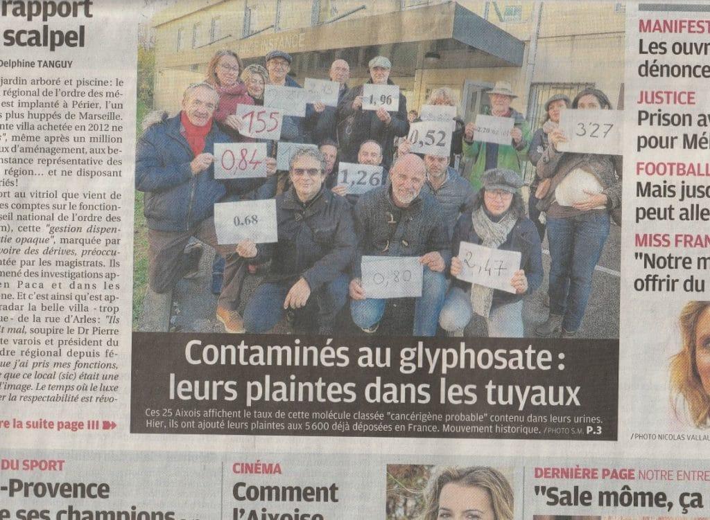 """Page 1 de La Provence """"Contaminés au Glyphosate, leurs plaintes dans les tuyaux"""""""